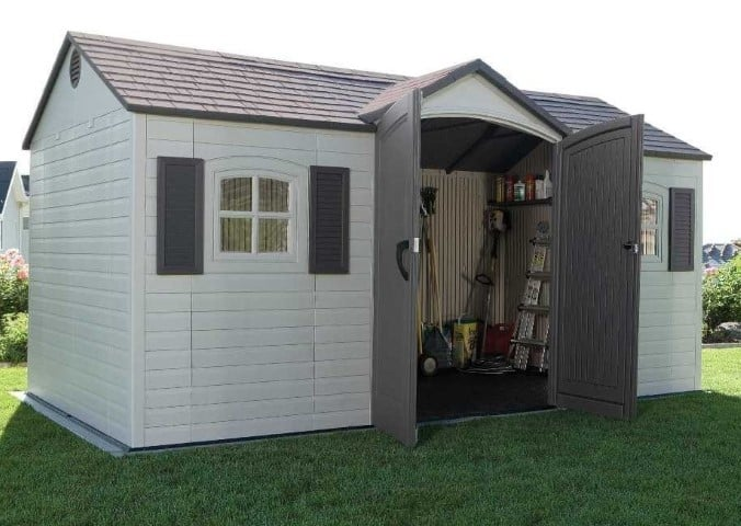 Lifetime 6446 15-by-8 Foot Outdoor Storage Shed open