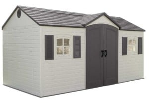 Lifetime 6446 15-by-8 Foot Outdoor Storage Shed with Shutters, Windows, and Skylights (Small) - a large motorcycle shed