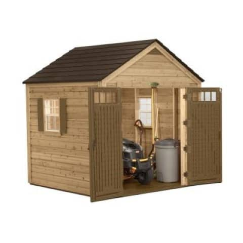 Suncast Cedar and resin hybrid shed open