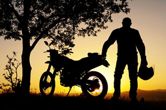 Man with no motorcycle shed