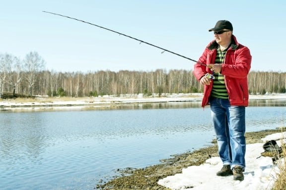 Man catches on spinning early spring