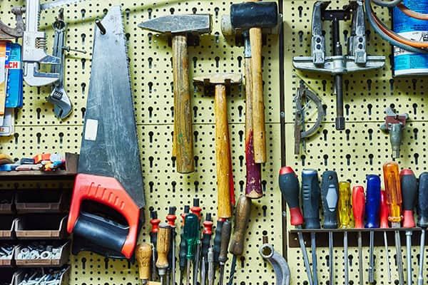 tool shed storage ideas - pinboard or shadowboard