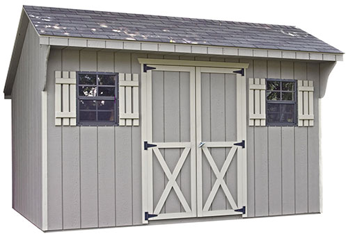 tool shed with shed windows and shutters