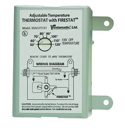 Thermostat for powered shed ventilation fan