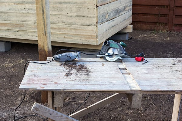 shed work bench outdoors