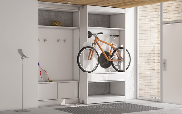 Bicycle storage solutions - inside cupboard