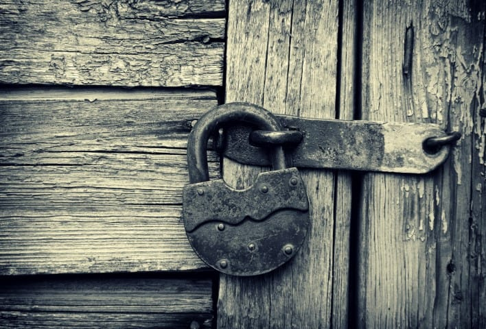 a lock on an old door