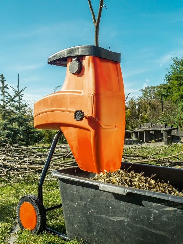 Electric shredder with wood chips used for garden mulching