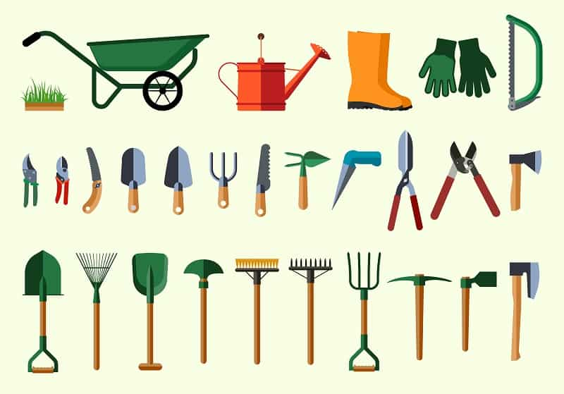 Awesome Garden Tools. Flat Design Illustration Of Items For Gardening.