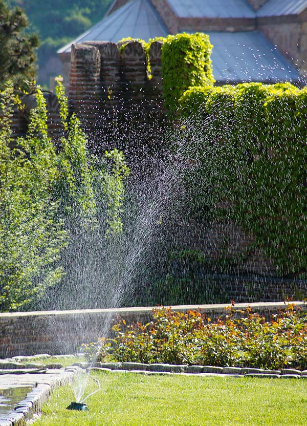 Stationary Garden Sprinkler in Action