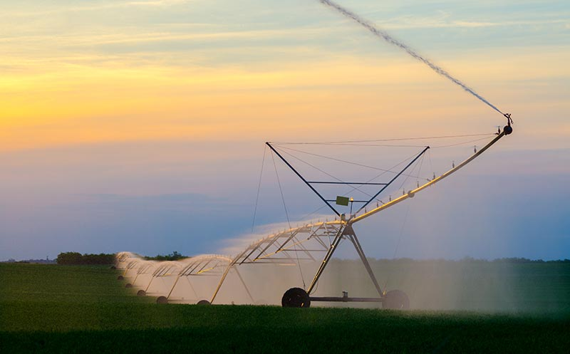 Large Agricultural Sprinkler Used to Water Large Areas