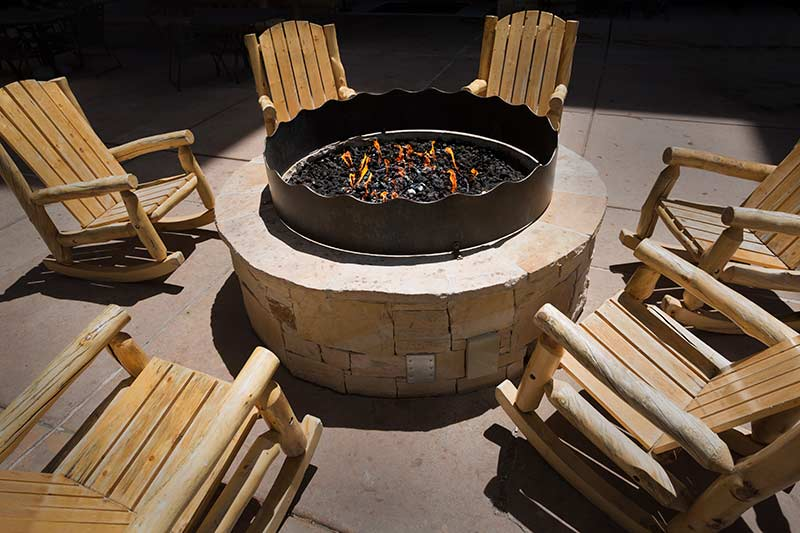 A fire pit is an example of a solid fuel patio heater