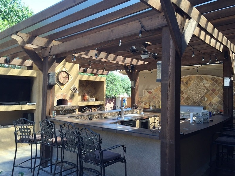 Outdoor Kitchen Idea - Patio cover with outdoor bar seating