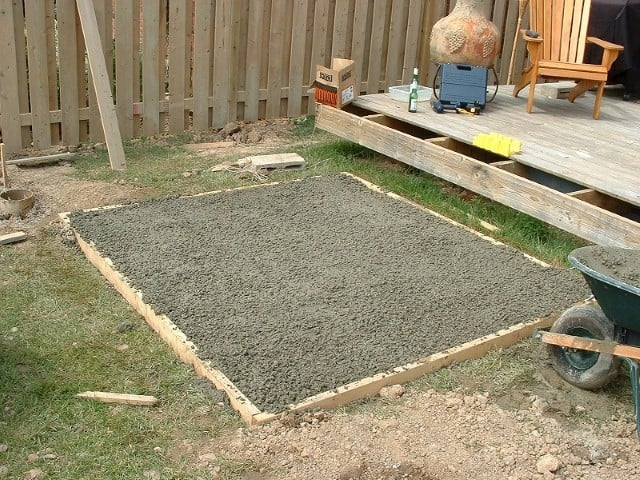gravel pad with timber frame