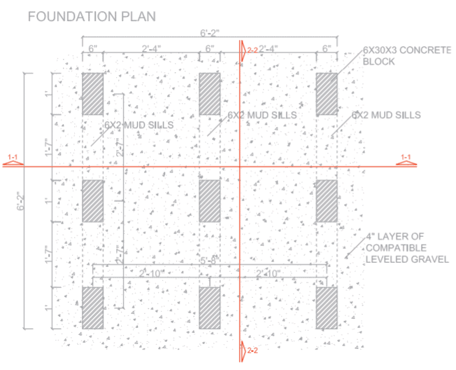 6 x 6 Shed Plans - Foundation