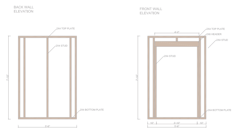 6 x 6 Shed Plans - Side Wall Front wall