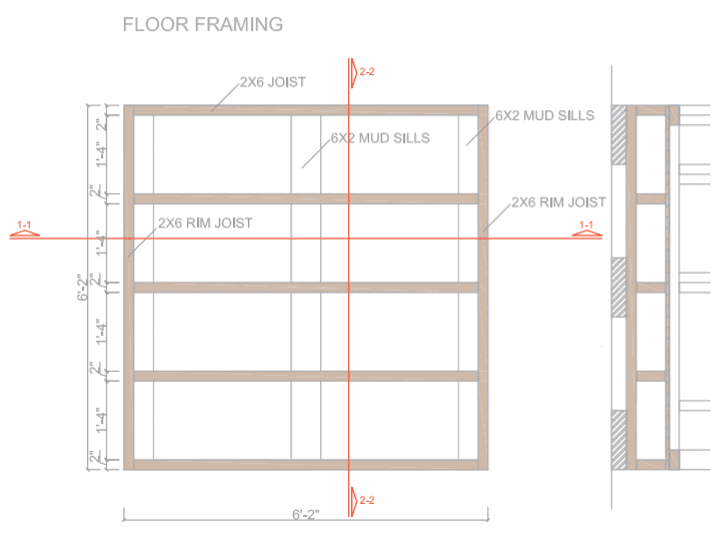 6 x 6 Shed Plans - Floor Framing