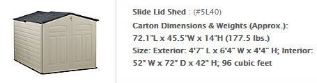 Rubbermaid Slide-Lid Shed - sizes