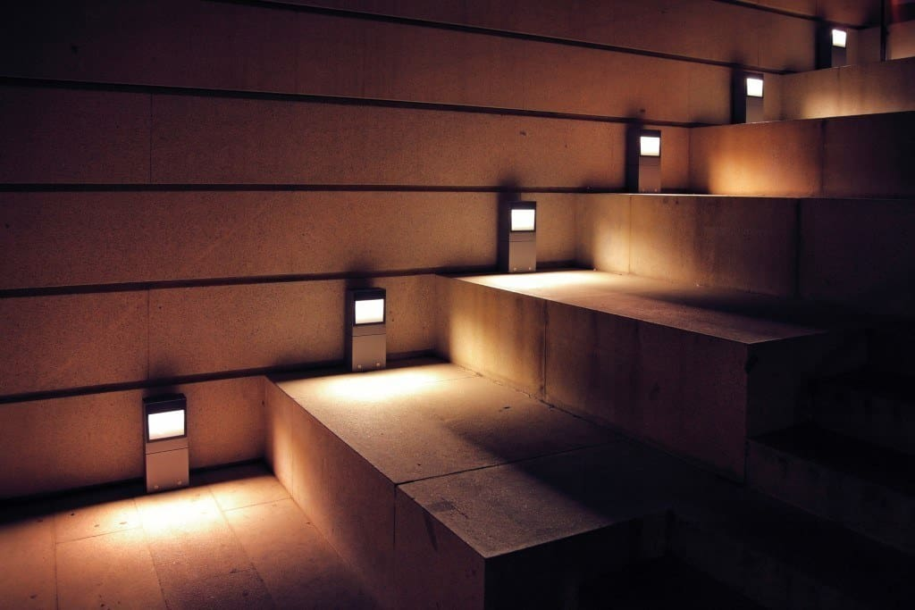 solar step lights - a set of stairs illuminated